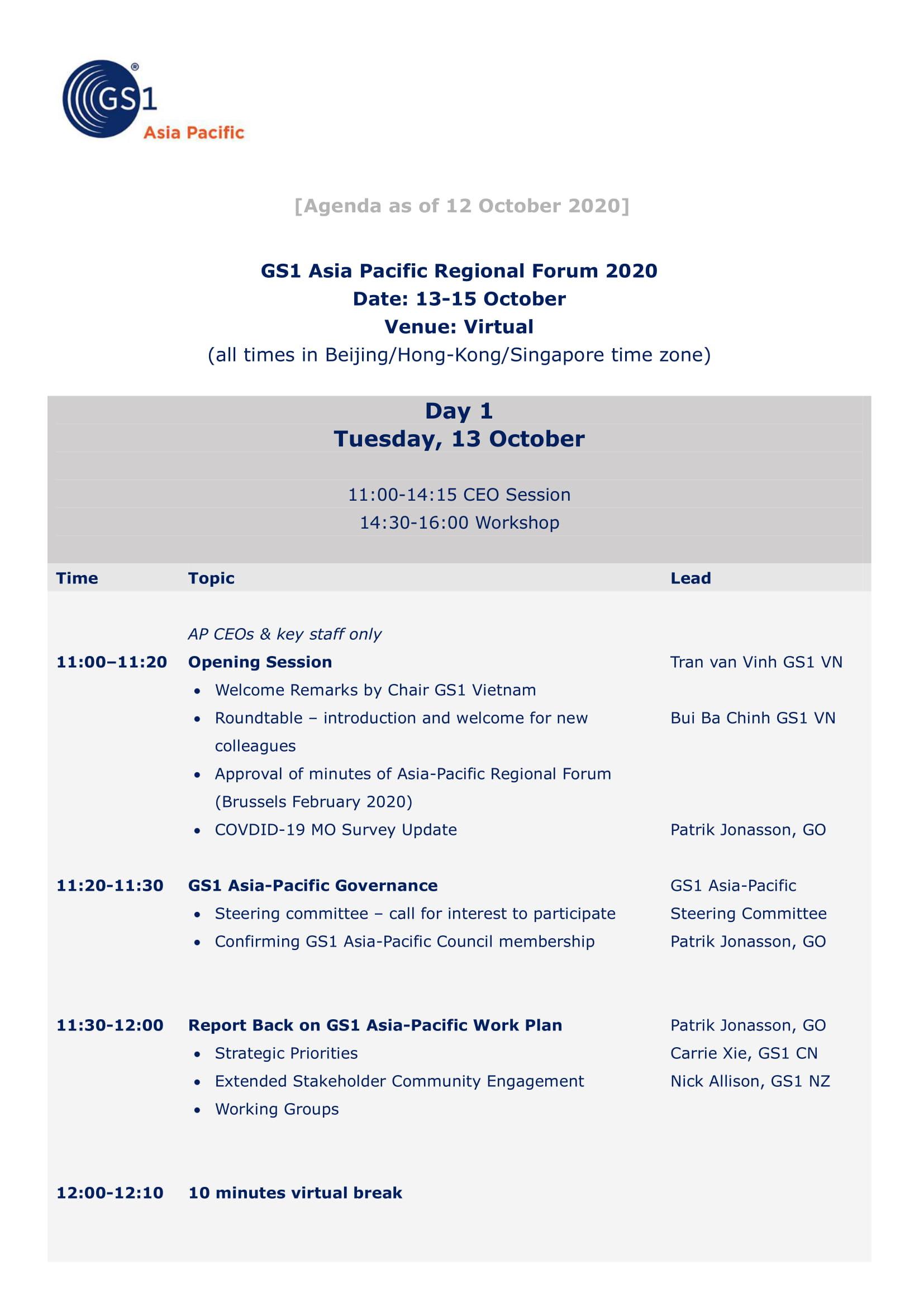 AGENDA GS1 Asia-Pacific Regional Forum 2020F-1